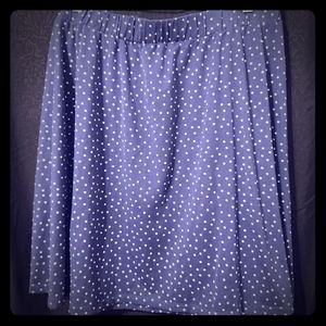 Blue skirt with white polkadots.